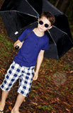 boy's long large check shorts. Easy pull-on design with lots of pockets. Navy.