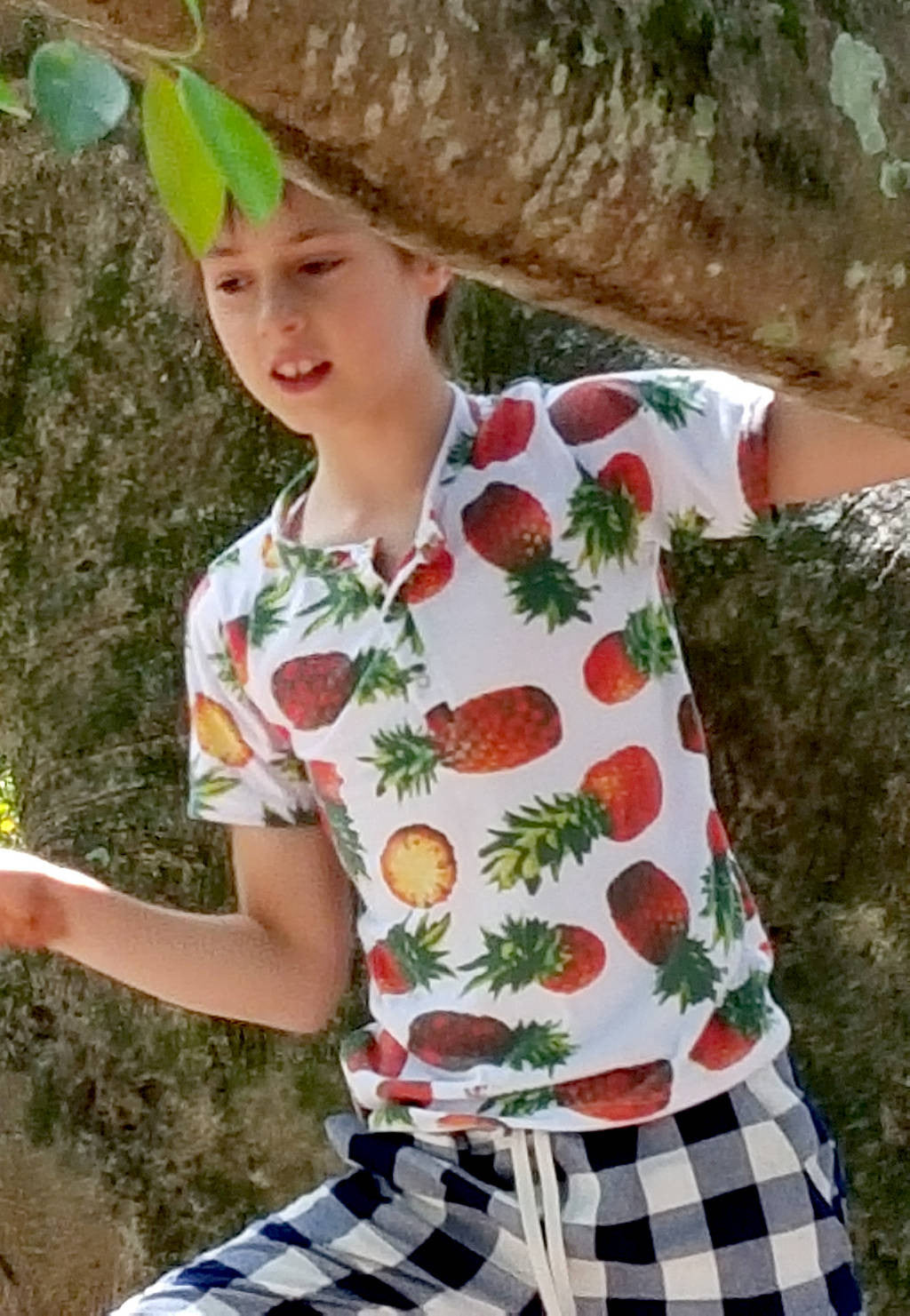 651b522ce46 Boy s short sleeve Henley t-shirt with tropical pineapple print. Ethically  handmade by our ...