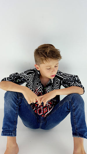 Soft sari cotton kids kurt shirt w/ mandarin collar into button front and long sleeves. Black, white + red.