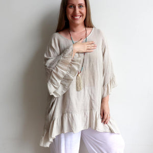 Luxurious 100% Italian Linen kaftan style top with feminine floaty ruffles. Great for the beach or any casual occasion. Stone.