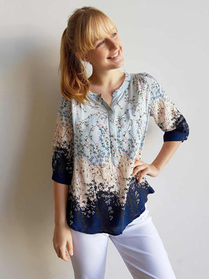 Chelsea Blouse Top in Springtime Floral Print + button up 3/4 sleeves. Blue