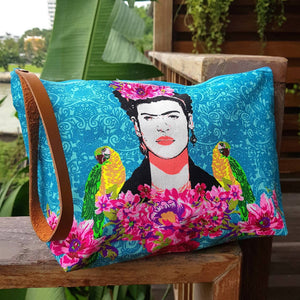 Clutch bag frida kahlo accessory makeup bag one size blue