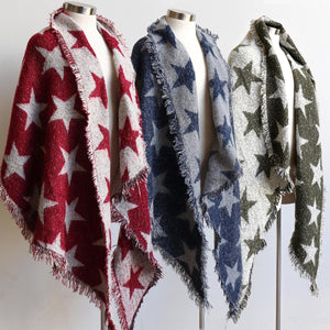 Fireside Wrap Scarf in Stars is a minky soft fibre winter knit accessory. Trio view.