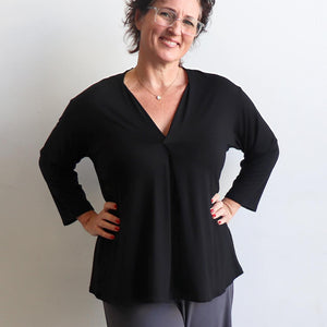 Go To Top by KOBOMO, a long sleeve winter basic made in quality bamboo designed for small to plus size women.