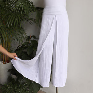Sorrento Wrap Pant. Elegant women's bottoms with back elasticated waist. Made with a soft linen blend fabric. In sizes 8-20. White.