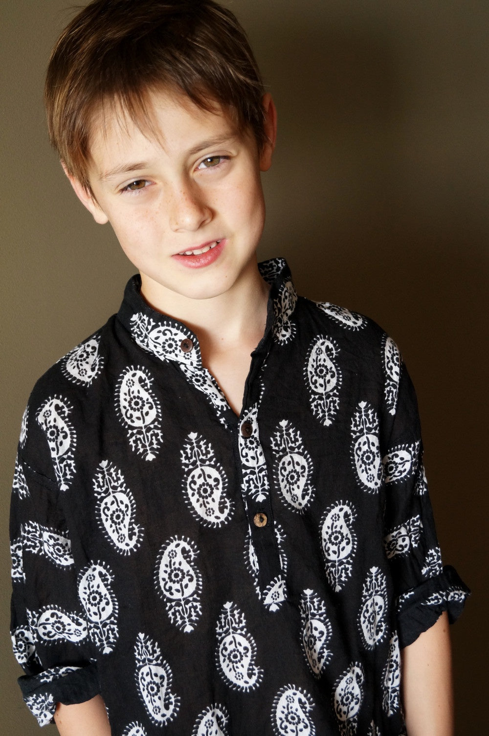 Cotton Paisley Black-White Long Sleeve Boys Shirt