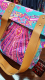 Indian paisley printed canvas tote handbag with leather handles. Neon pink on mint.