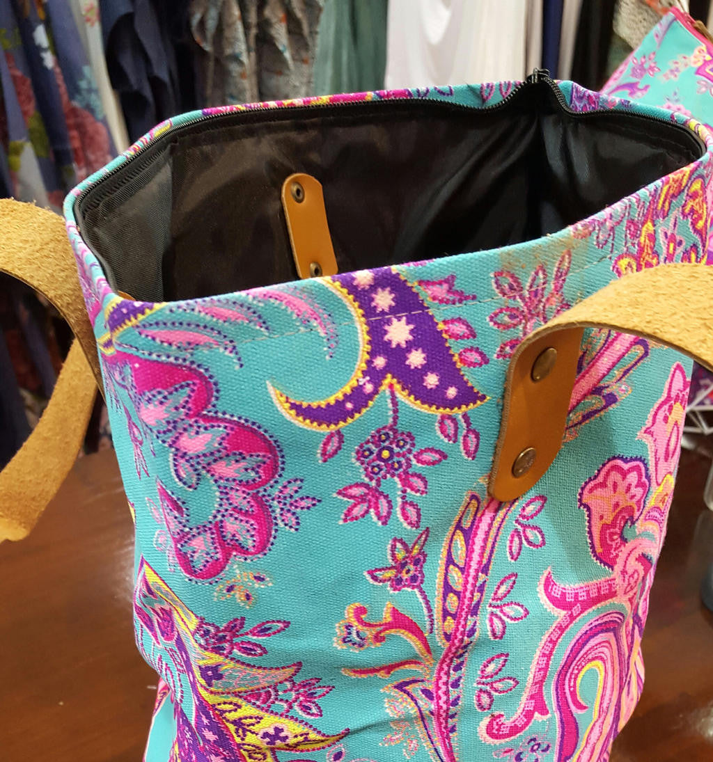 07dad94f8 Indian paisley printed canvas tote handbag with leather handles. Neon pink  on mint.