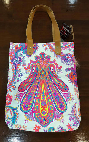 Indian paisley printed canvas tote handbag with leather handles.  - neon pink