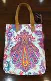 Indian paisley printed canvas tote handbag with leather handles. Neon pink on white.