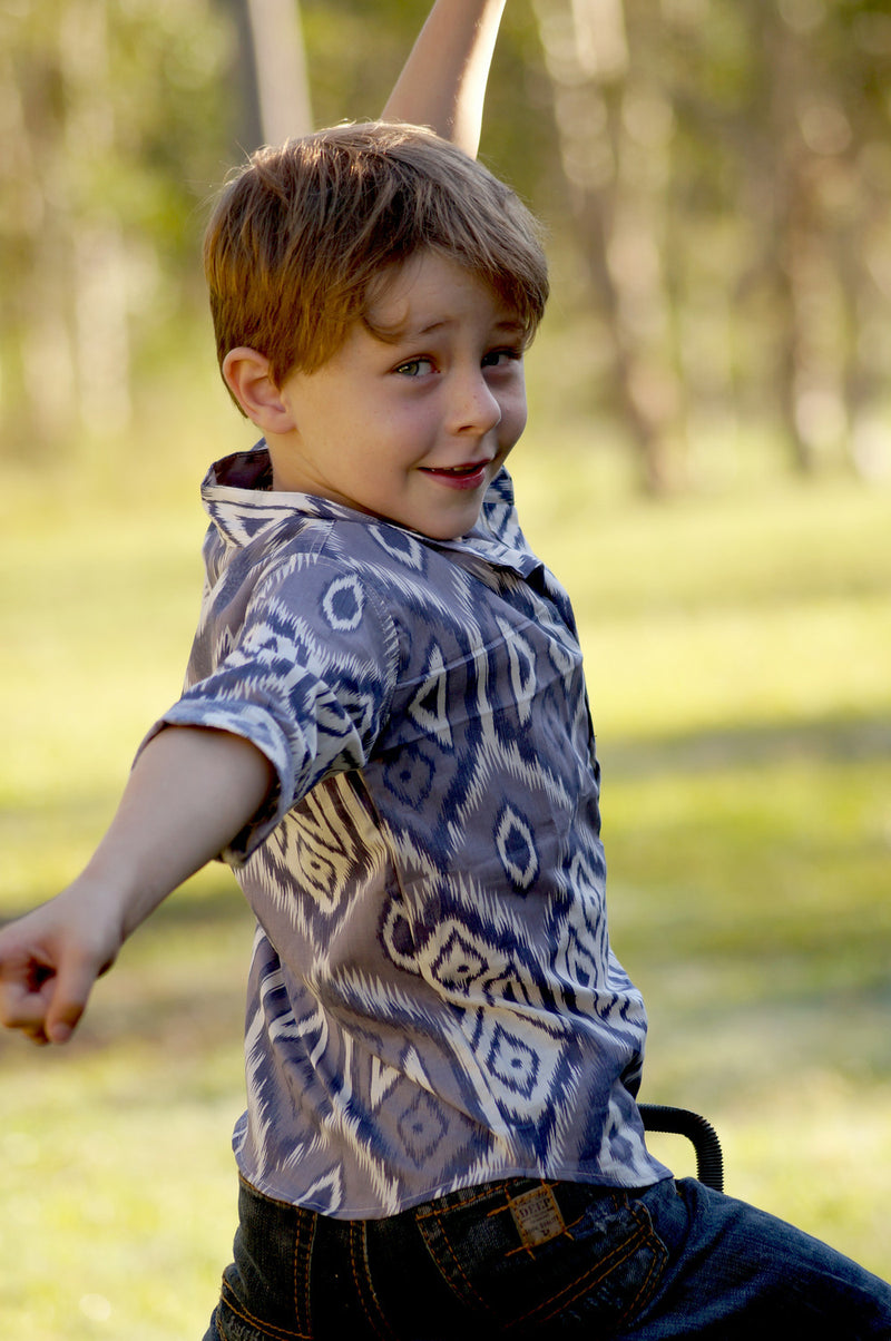 Boys Cotton Shirt Blue and White Diamond Indigo Print Button Down