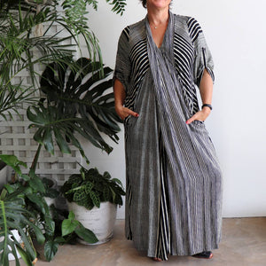 Apres Spa Maxi Kaftan Dress in modern black stripe.