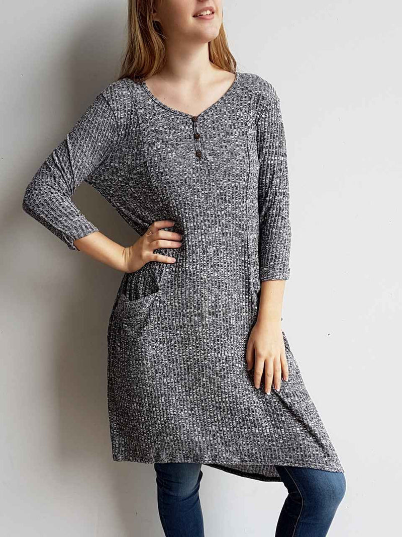 Chapel Street Winter Shirt Dress Sweater Knit - lightweight fabric + pockets + buttons. Marle Grey