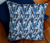 Awesomely fun blue camouflage cushion for the kids' room. 55cm x 55cm.