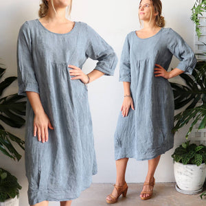 Italian made women's summer dress in pure 100% linen. Free-size fitting - 115cm shoulder to hemline and bust up to 115cm. Washed Blue.