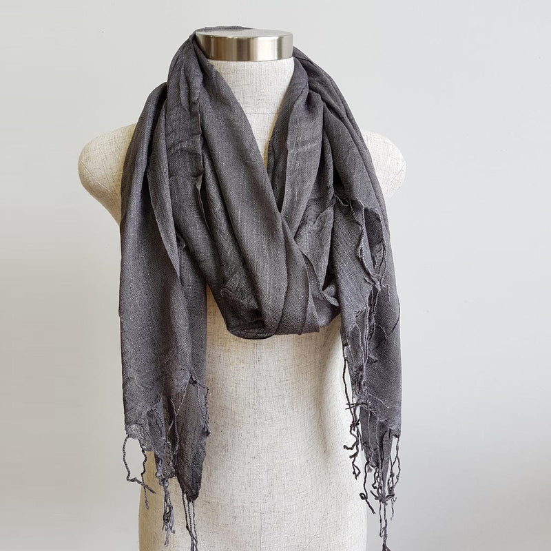 Day Tripper Scarf in cotton/silk blend. Soft and lightweight plain colour scarf accessory. Pewter.