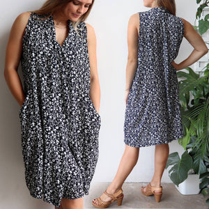 Origami Dress in floral print is a sleeveless trapeze sundress in black or navy blue