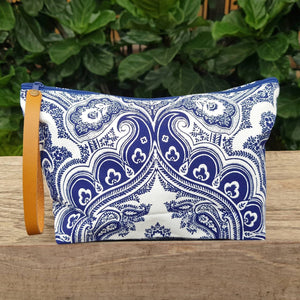 Anything Goes Clutch Bag zippered purse great for cosmetics, with a washable lining. Paisley Indigo.
