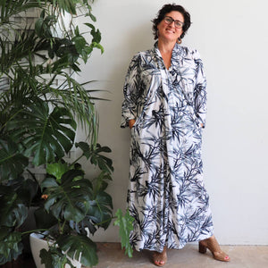 Apres Spa Maxi Kaftan Dress in elegant monochrome bamboo leaf print