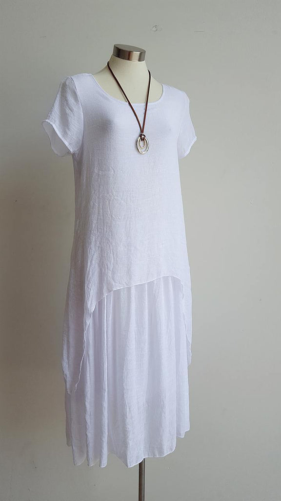 Cool + easy 'stay chic' womens layer short sleeved below-the-knee summer dress made from cotton/poly blend textured fabric. White.
