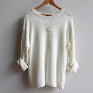 Fluffy Knit Classic Winter Jumper in creamy white.