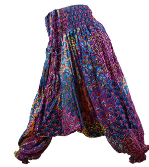girl's aladdin genie pants playsuit indian pink. Sizes to fit 1 year old baby to 12 year old tween.
