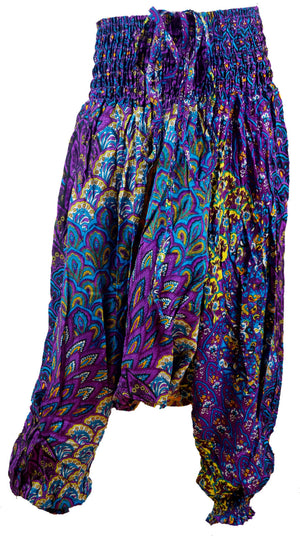 girl's aladdin genie pants playsuit indian purple. Sizes to fit 1 year old baby to 12 year old tween.
