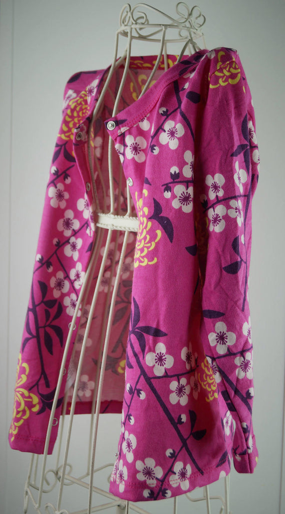 Girl's soft cotton cardigan top in pink cherry blossom print. Sizes baby to tweens.