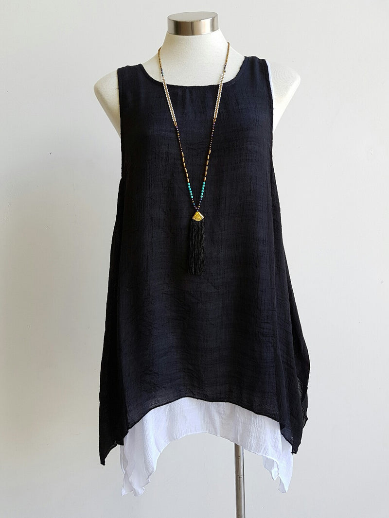 Light + floaty womens contrast layer tunic summer sleeveless top. Black + white.