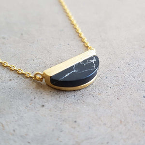 La Luna Rock Necklace Jewellery Gold Chain half moon