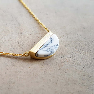 La Luna Rock Necklace Jewellery Gold Chain white half moon