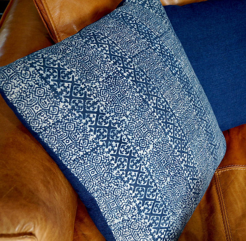 Indigo blue hand woven Hill tribe printed cotton throw cushion.