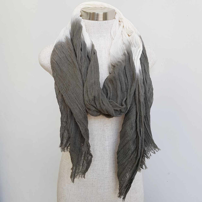 Karma cotton natural ethnic scarf - olive green