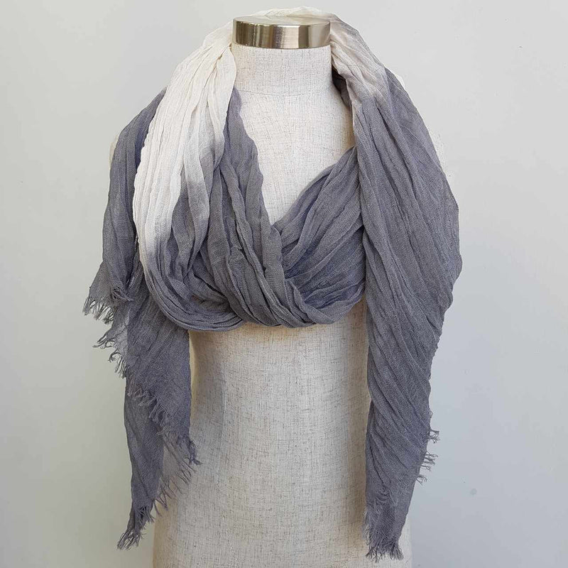 Karma cotton natural ethnic scarf - stormy grey