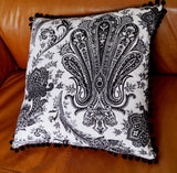Traditional Indian paisley printed cushion cover - Black + white.