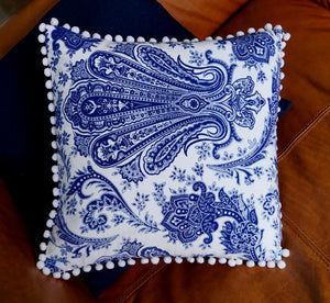 Traditional Indian paisley printed cushion cover - Indigo blue + white.