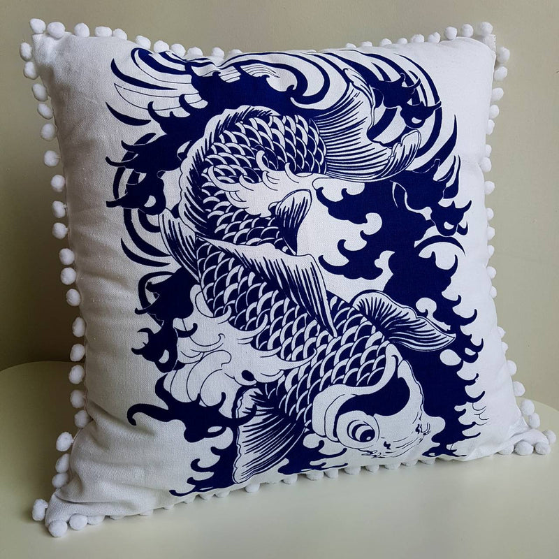 Pompom Throw Cushion Japanese Koi Fish Navy Blue and White