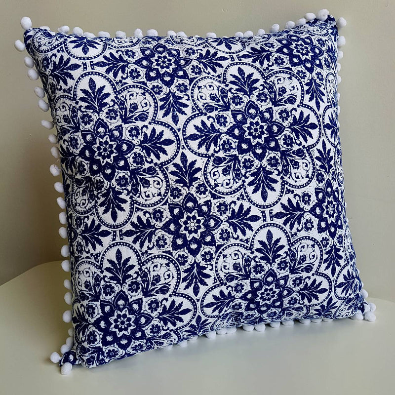 Pompom Throw Cushion Indigo and White
