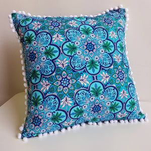 Pompom Throw Cushion Turquoise Oasis