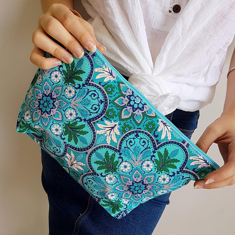 Anything Goes Clutch Bag zippered purse great for cosmetics, with a washable lining. Secret Garden.