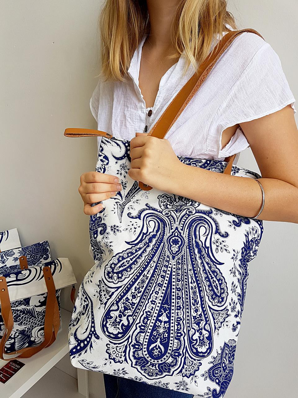 8a185cf2c ... Indian paisley printed canvas tote handbag with leather handles.