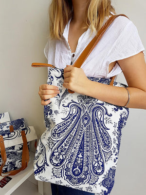 Indian paisley printed canvas tote handbag with leather handles.