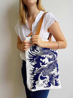 printed canvas shopping beach tote handbag with japanese koi fish design
