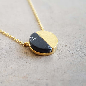 La Luna Rock Necklace Jewellery Gold Chain black sphere