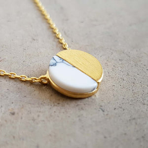 La Luna Rock Necklace Jewellery Gold Chain white sphere
