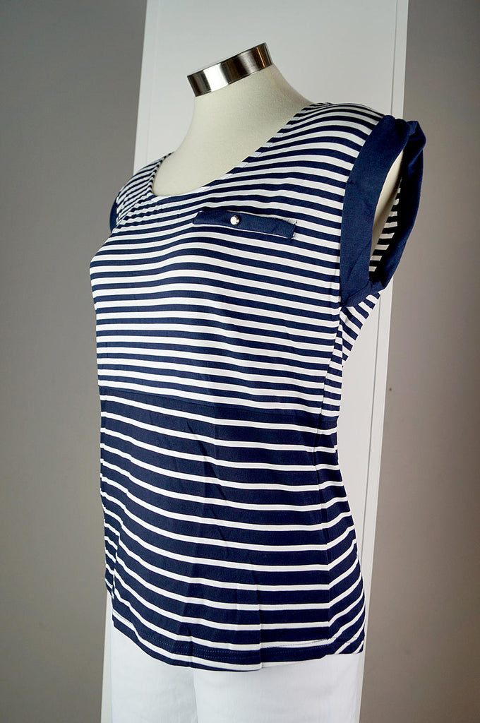Nautical style top with round neck, navy trim short sleeves and cross feature on back. Navy stripe contrast print top available in sizes 8 -16.