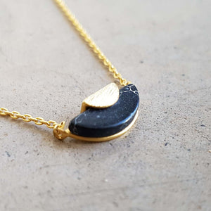 La Luna Rock Necklace Jewellery Gold Chain sunrise black