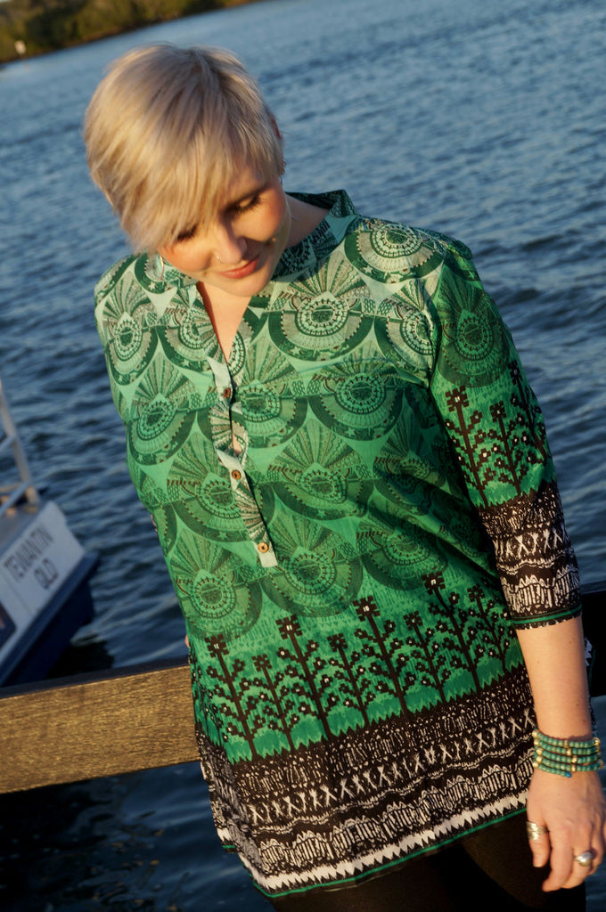 3/4 sleeve sari cotton kurta tunic top w/ mandarin collar + button feature in green Aztec print. Plus size available!