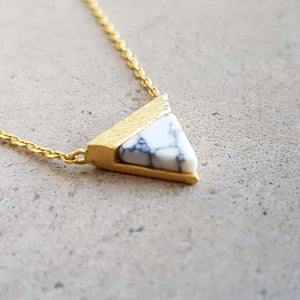 La Luna Rock Necklace Jewellery Gold Chain white triagnle