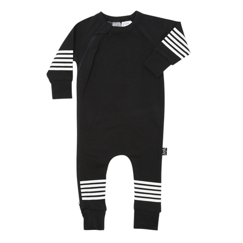Kipp Kids Five Stripe Zip Romper in Black